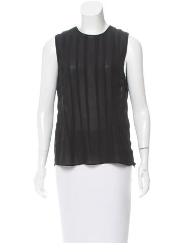 Calvin Klein Collection Sleeveless Semi-Sheer Silk Top None