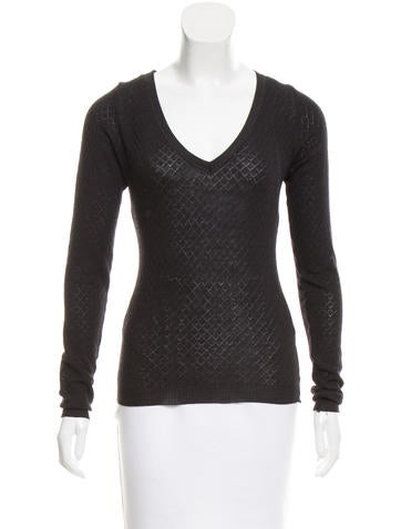 Calvin Klein Collection Long Sleeve V-Neck Sweater None