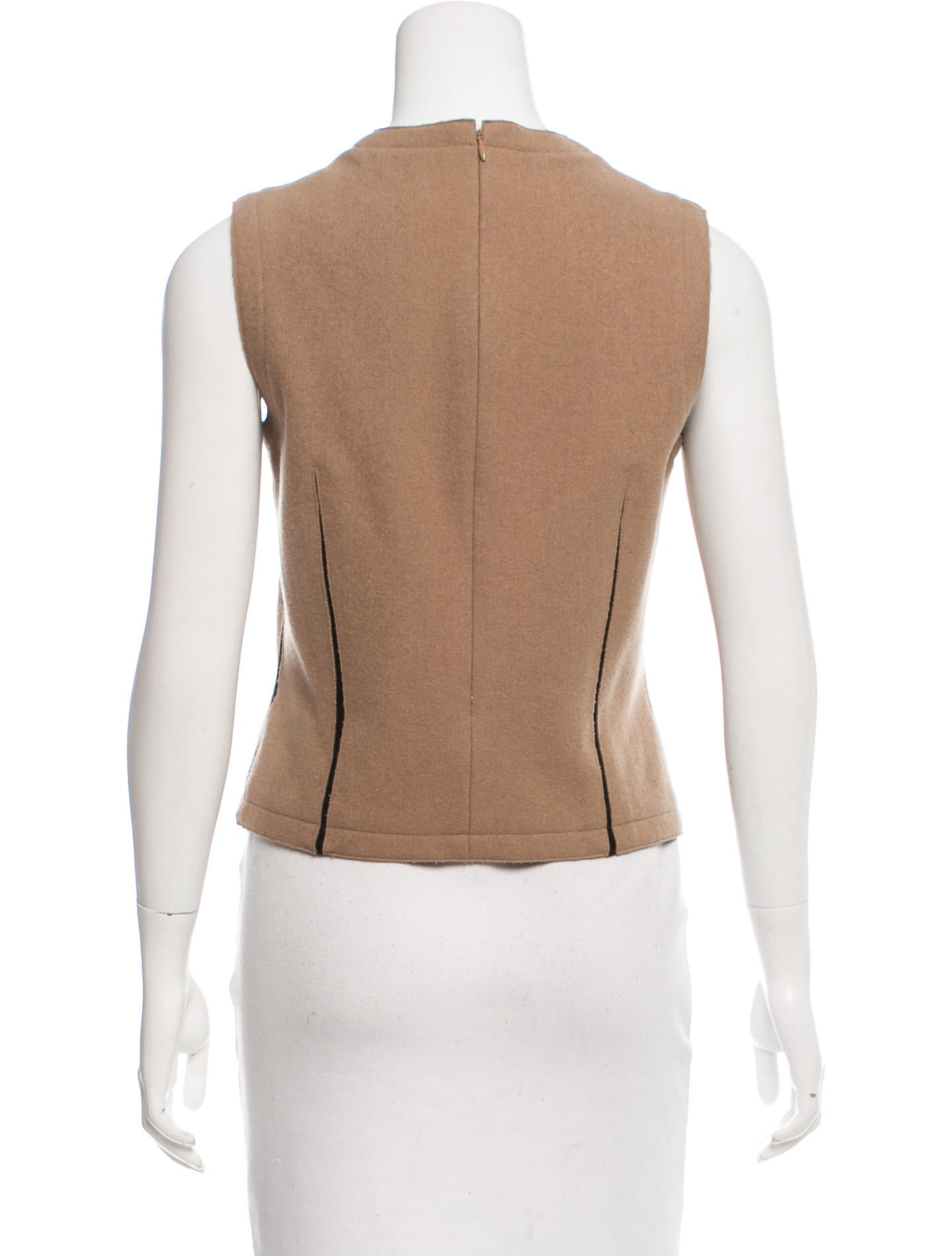 Calvin klein collection sleeveless wool top clothing for Best wool shirt jackets
