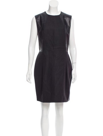 Calvin Klein Collection Leather-Paneled Wool Dress None