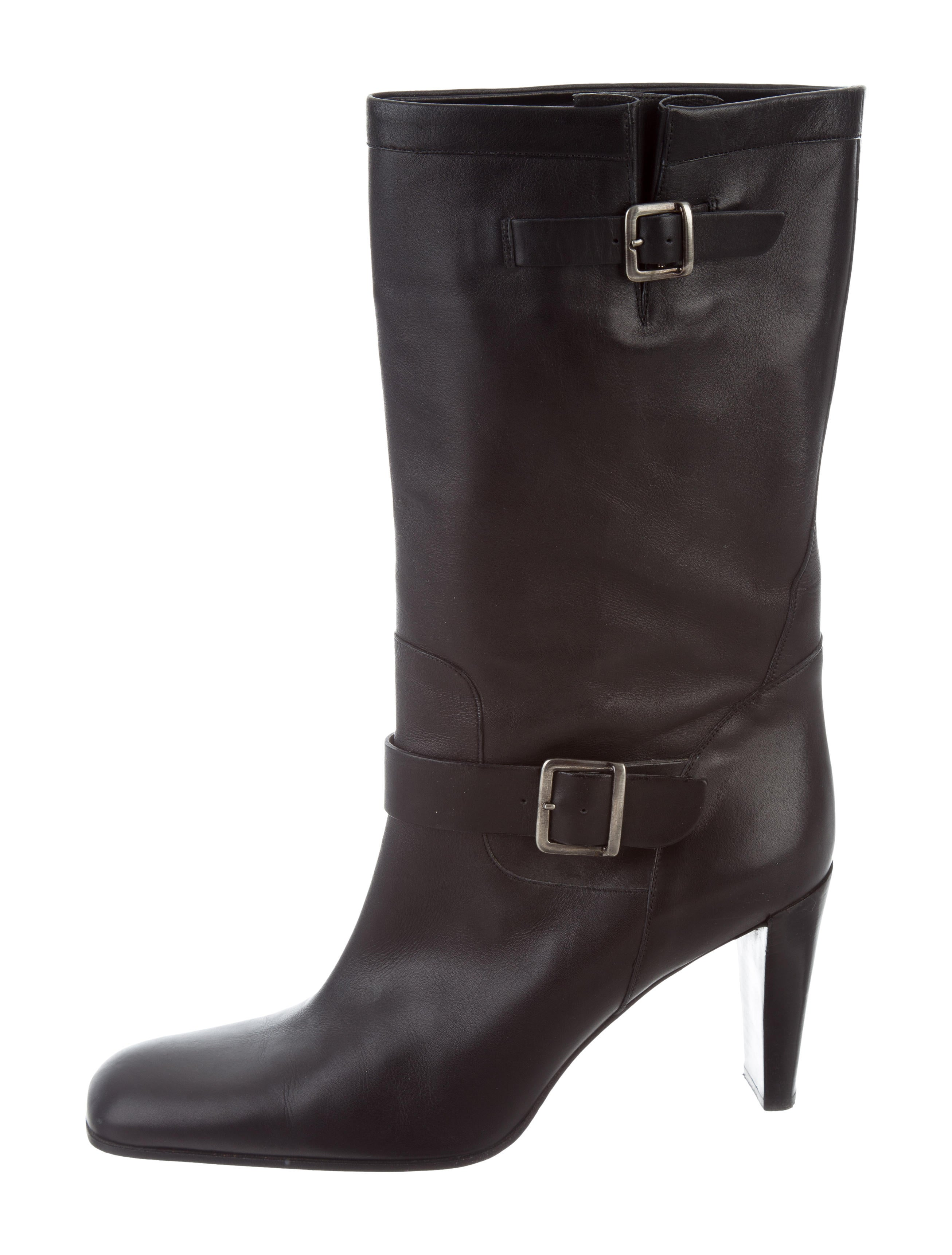 calvin klein collection leather square toe boots shoes