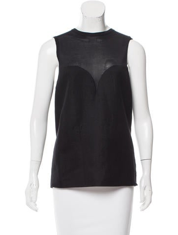 Calvin Klein Collection Silk-Blend Sleeveless Top w/ Tags None