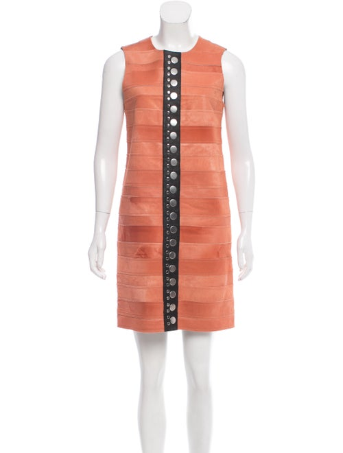 Calvin Klein Collection Fur Leather-Trimmed Dress