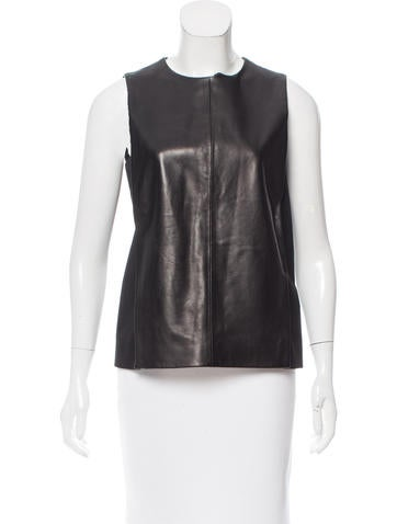 Calvin Klein Collection Leather-Trimmed Silk Top None