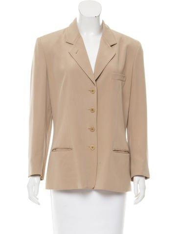 Calvin Klein Collection Silk Notch-Lapel Blazer None