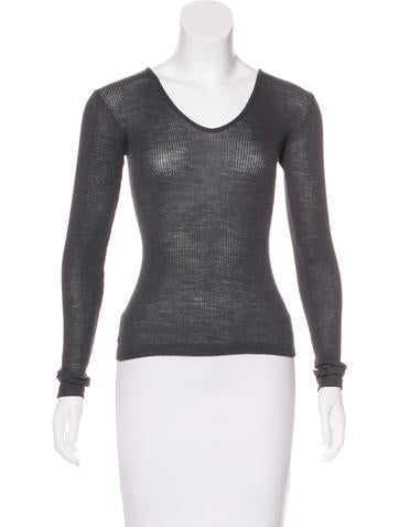 Calvin Klein Collection Wool Rib Knit Top None
