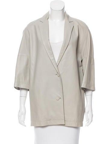 Calvin Klein Collection Leather Notch-Lapel Coat None