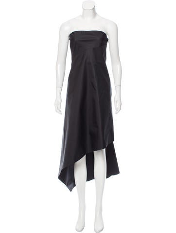 Calvin Klein Collection Strapless Asymmetrical Dress None