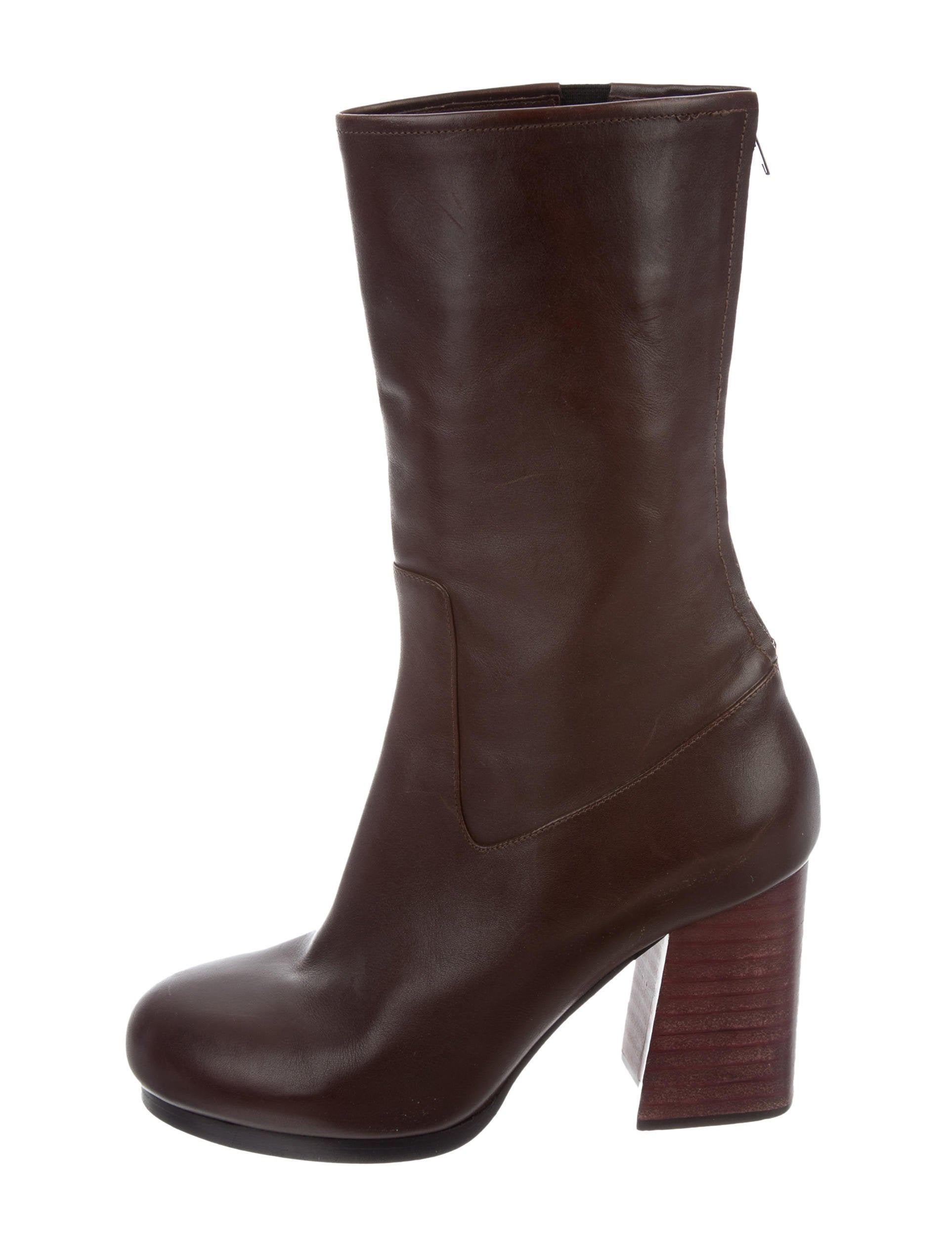 calvin klein collection leather mid calf boots shoes