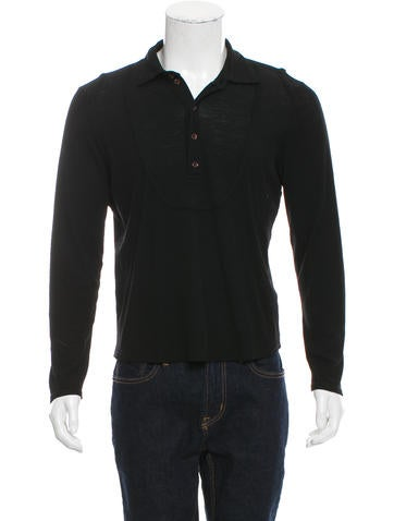 Calvin Klein Collection Wool-Blend Henley Knit Polo None