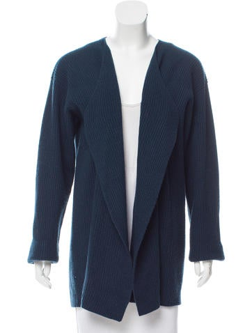 Calvin Klein Collection Wool & Cashmere Rib Knit Cardigan None