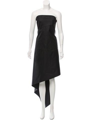 Calvin Klein Collection Strapless Asymmetrical Dress None
