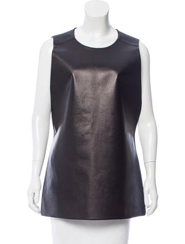 Calvin Klein Collection Leather Keyhole-Accented Top None