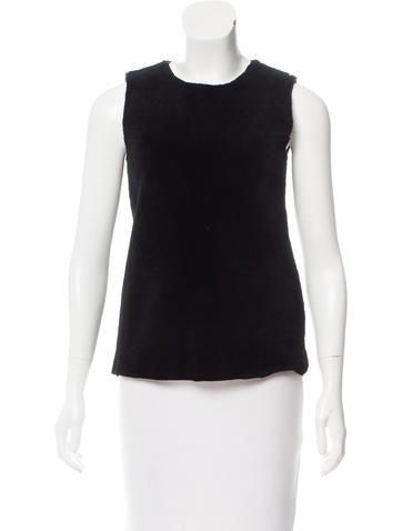 Calvin Klein Collection Lambskin & Wool Sleeveless Top None
