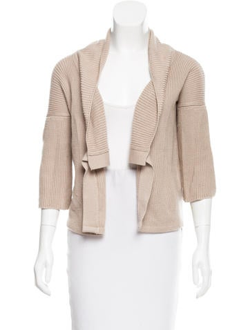 Calvin Klein Collection Rib Knit Open Front Cardigan None