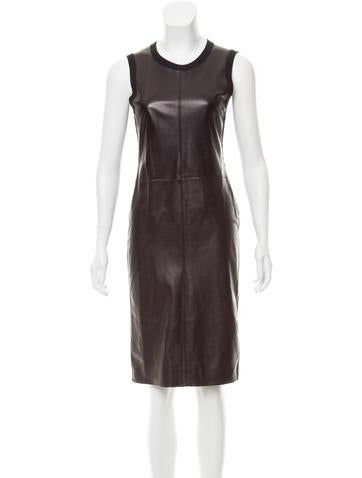 Calvin Klein Collection Leather-Paneled Cashmere Dress None