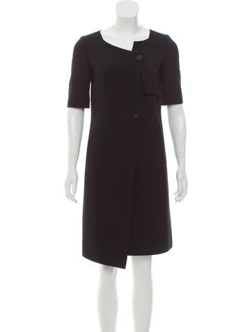 Calvin Klein Collection Asymmetrical Wool Dress None