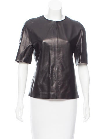 Calvin Klein Collection Leather Short Sleeve Top None