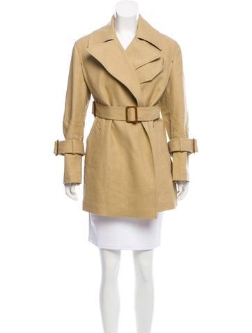Calvin Klein Collection Buckle-Accented Notch-Lapel Coat None