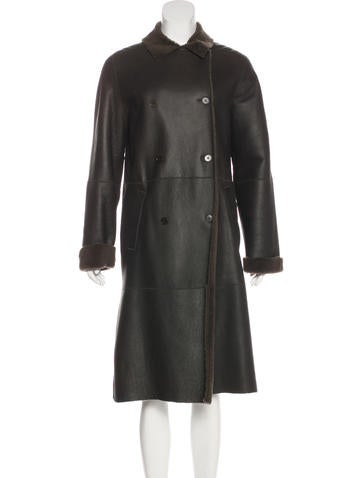 Calvin Klein Collection Leather Shearling Coat None