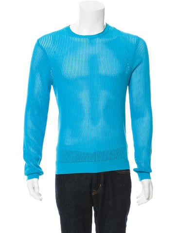 Calvin Klein Collection Open Knit Crew Neck Sweater w/ Tags None