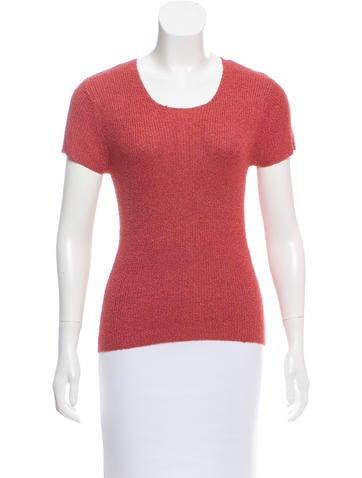 Calvin Klein Collection Silk Short Sleeve Top None