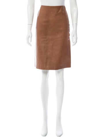 Calvin Klein Collection Knee-Length Leather Skirt None