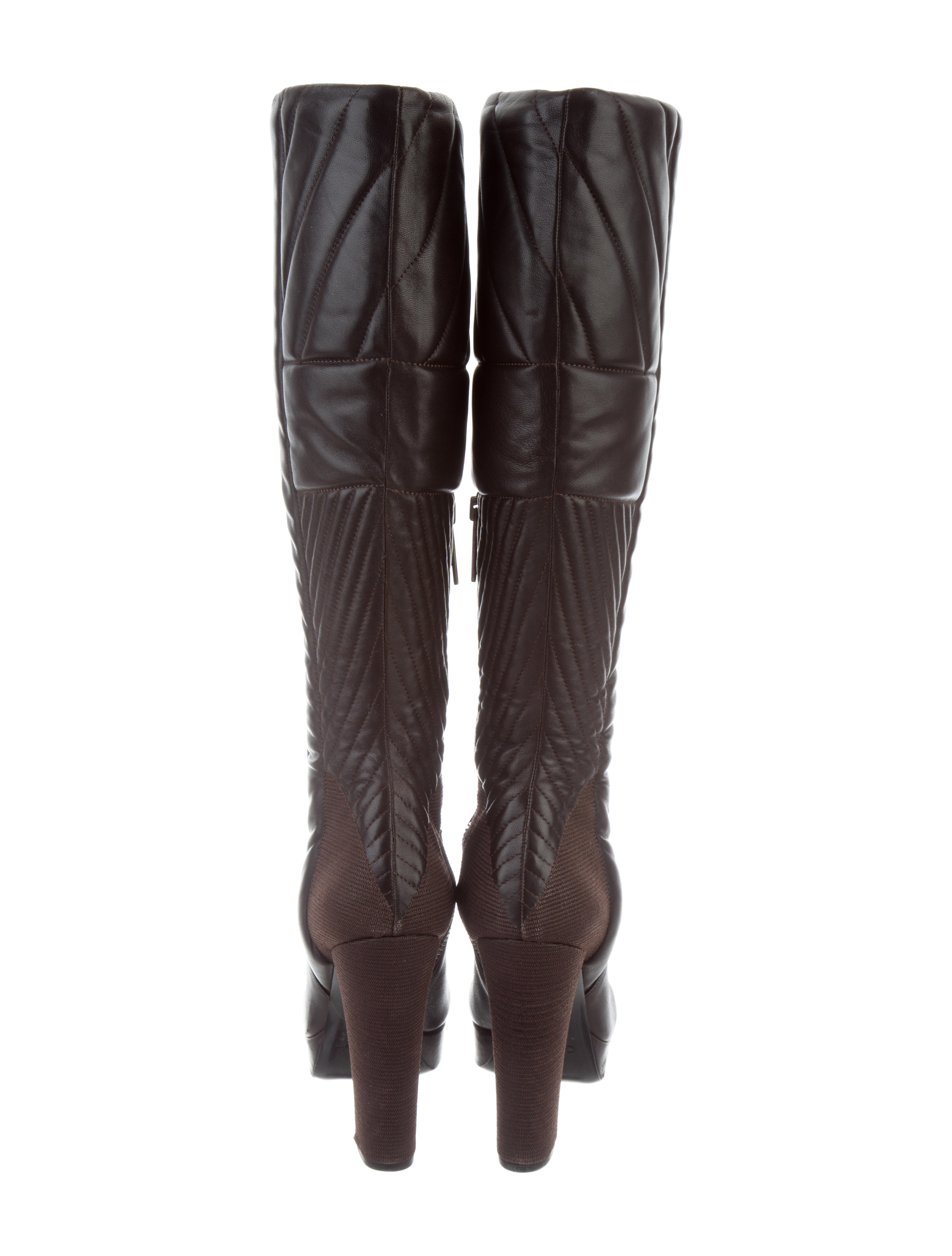 Calvin Klein Collection Quilted Knee High Boots Shoes