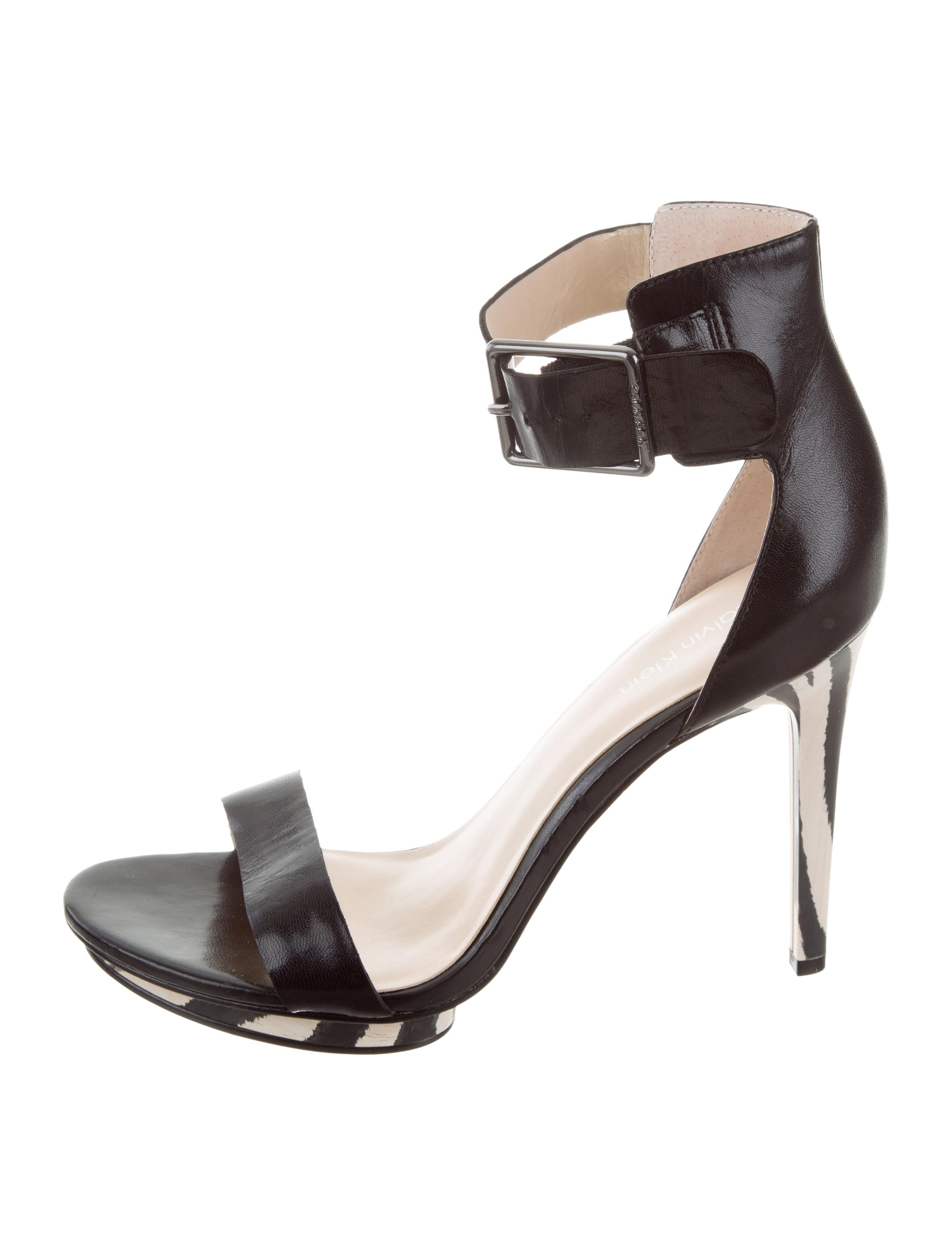Calvin Klein Collection Leather Ankle Strap Sandals popular online Bwn62Ucqn