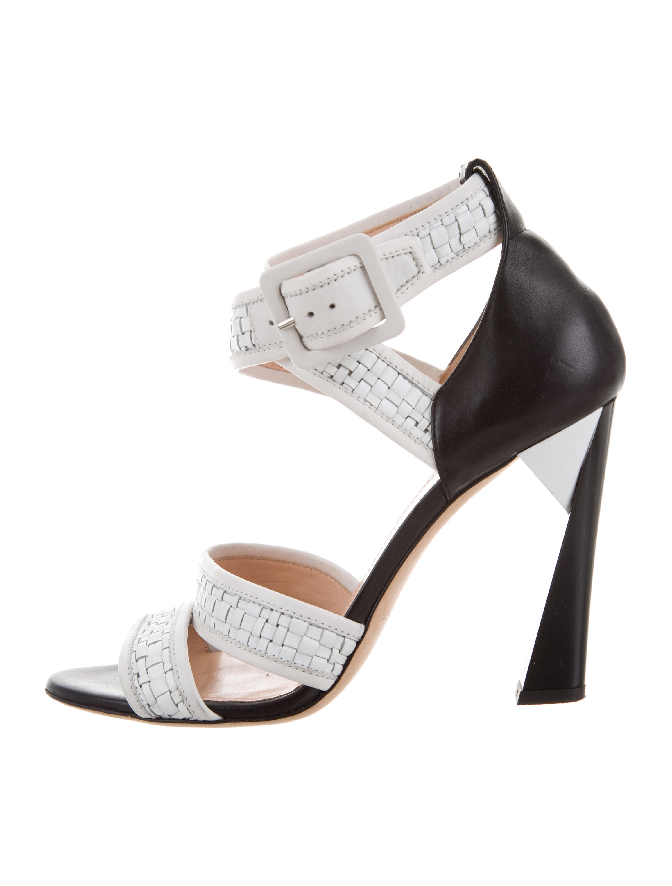 Calvin Klein Collection Woven Leather Multistrap Sandals
