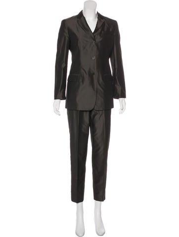Calvin Klein Collection Silk Notched-Lapel Pantsuit None