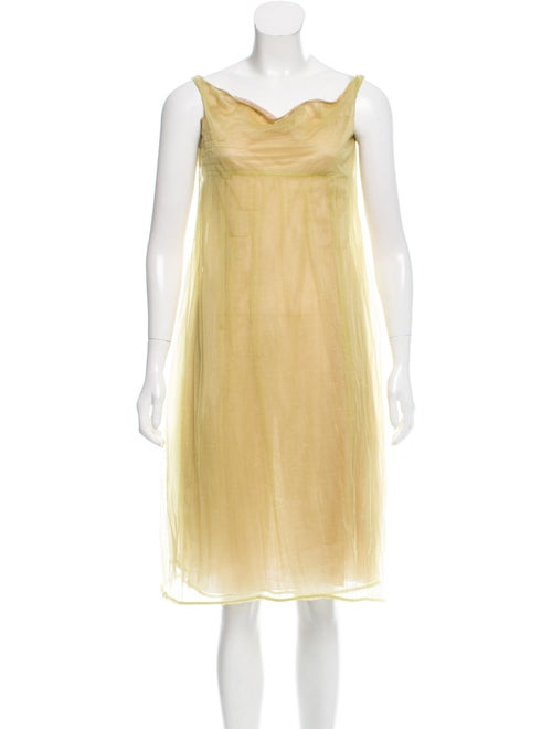 Calvin Klein Collection Semi-Sheer Midi Dress Gree