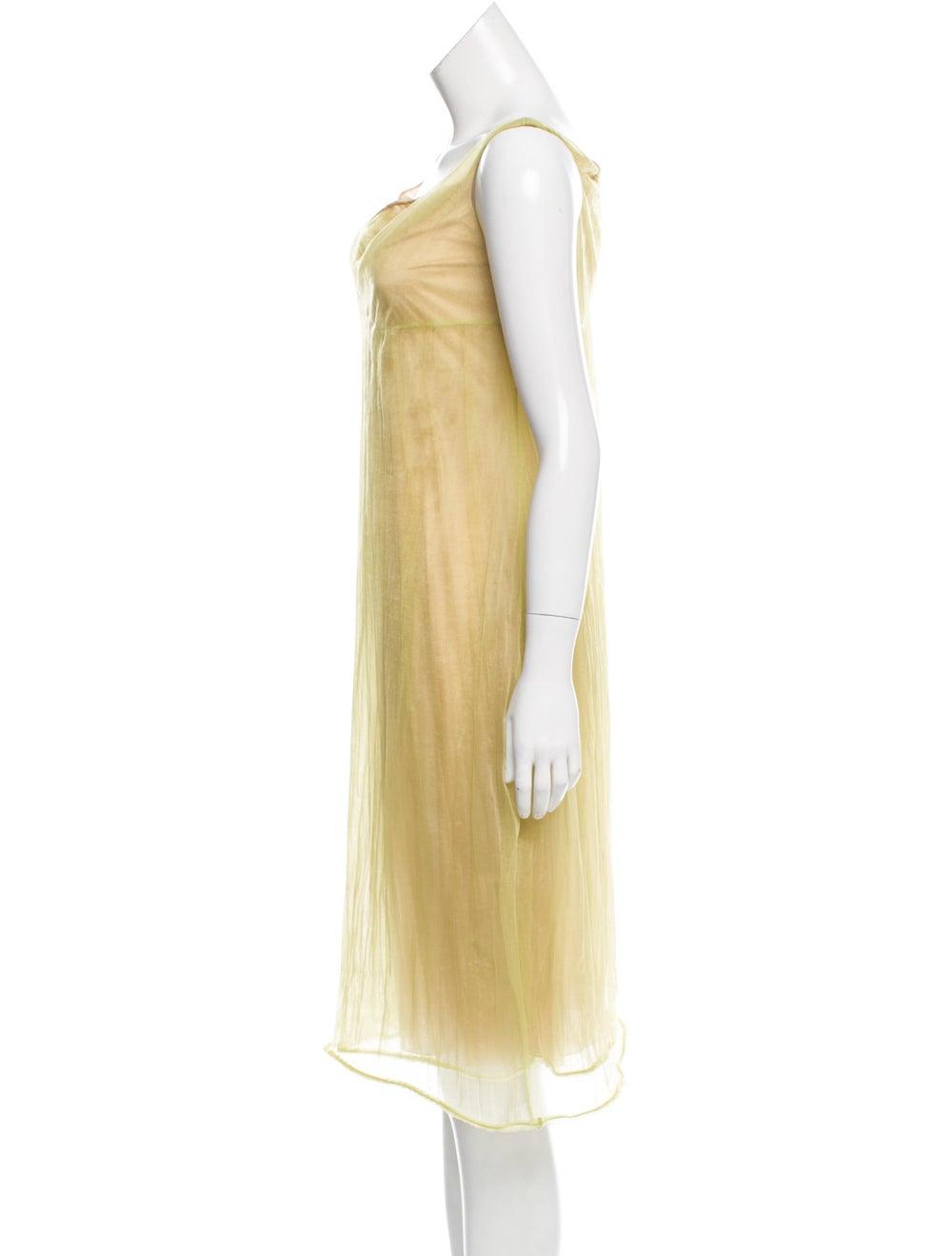 Calvin Klein Collection Semi-Sheer Midi Dress Gre… - image 2