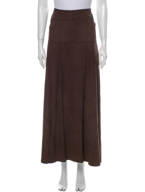 Calvin Klein Collection Leather Long Skirt Brown