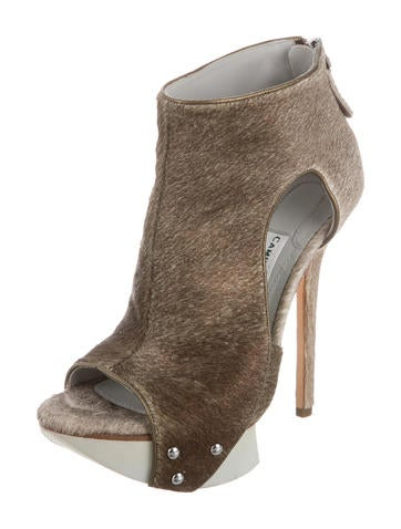 Ponyhair Platform Ankle Boots