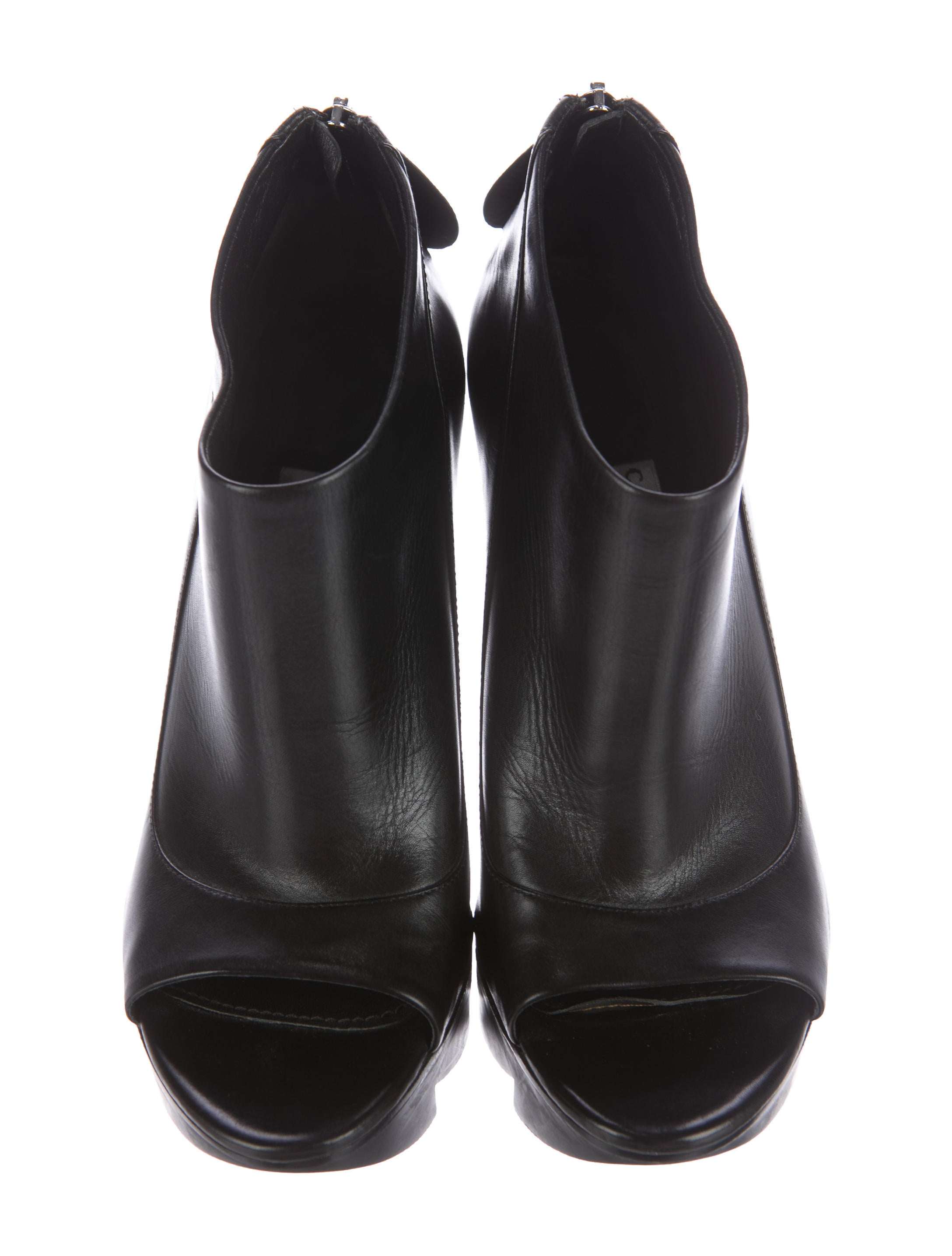 Camilla Skovgaard Leather Peep Toe Booties Shoes