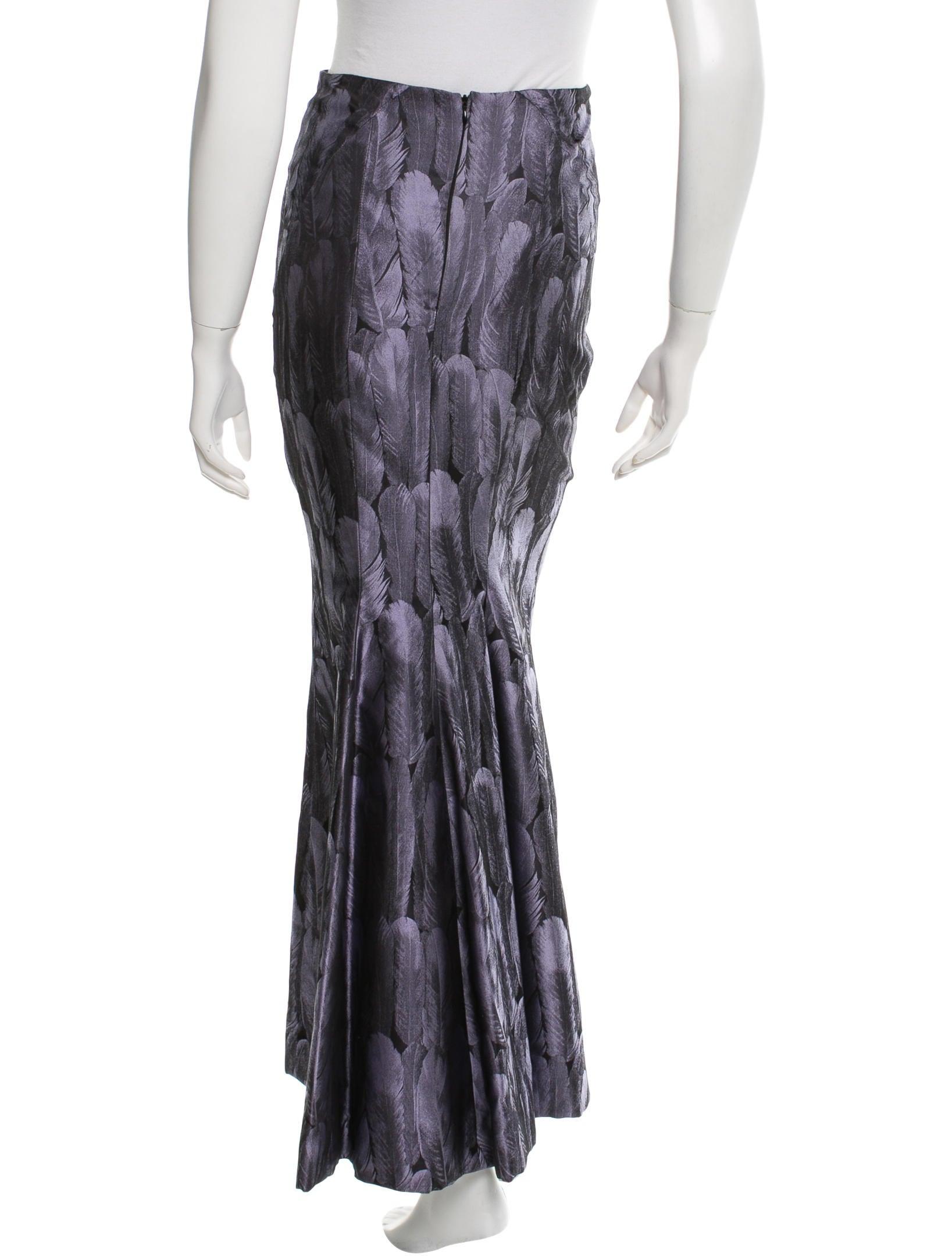 carolina herrera feather print maxi skirt clothing