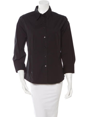 Carolina Herrera Three-Quarter Sleeve Button-Up Top None