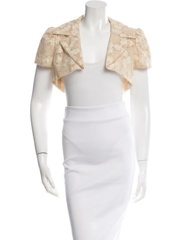 Carolina Herrera Embroidered Short Sleeve Bolero None