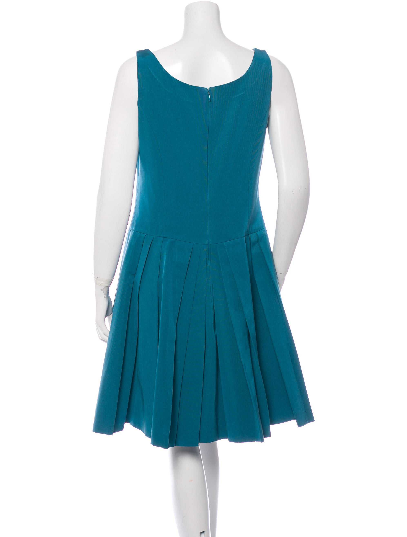 carolina herrera pleated skirt midi dress clothing