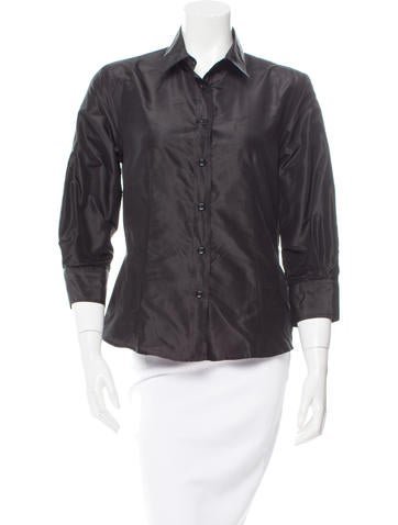 Carolina Herrera Silk Button-Up Top None