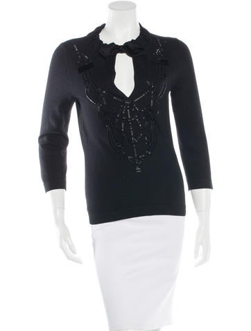 Carolina Herrera Embellished Wool Top None