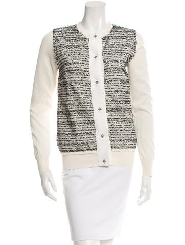 Carolina Herrera Embroidered Silk Cardigan w/ Tags None