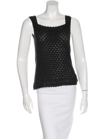 Carolina Herrera Cashmere Silk-Blend Sleeveless Top None