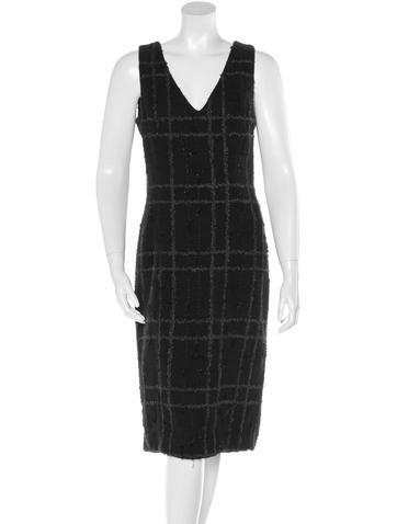 Carolina Herrera Wool Embellished Shift Dress