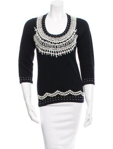 Carolina Herrera Embroidered Wool Sweater None