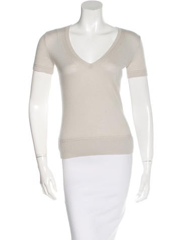 Carolina Herrera Cashmere Short Sleeve Top None