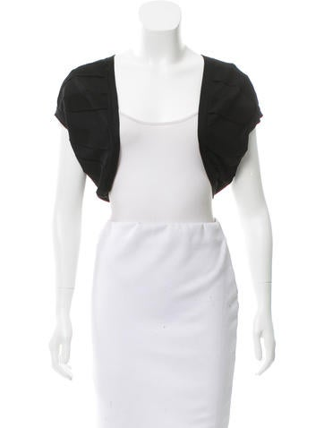Carolina Herrera Open Front Rib Knit-Trimmed Bolero None