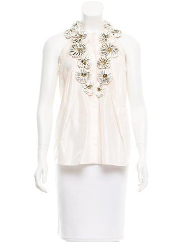 Carolina Herrera Embellished Silk Top