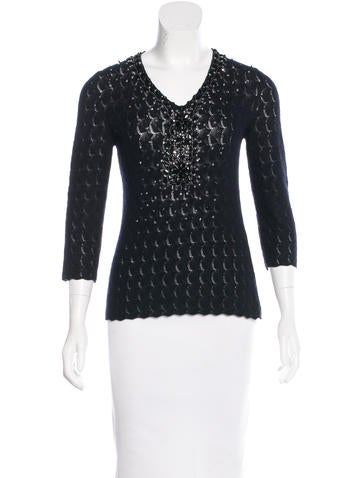 Carolina Herrera Embellished Cashmere Sweater None